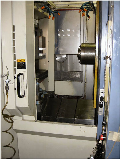 24.5 X, 22.05 Y, 22.05 Z, OKK HM 500,Full 4th axis,thru sp clnt,8 plts, 2001