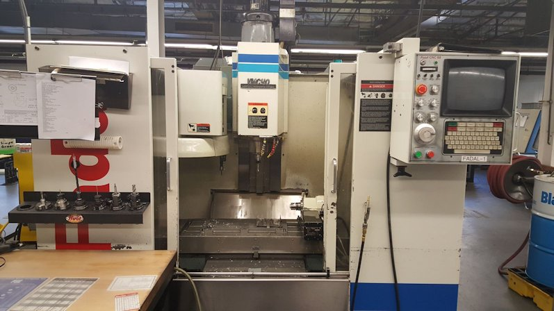 22 X, 16 Y, 20 Z, FADAL VMC-40,10 HP, 21 ATC,10,000 RPM, 39 X 16 TABLE, 1994